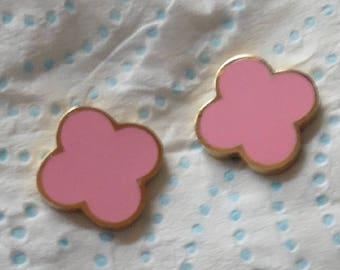 Baby Pink Clover Gold Plated Earrings Designer Inspired