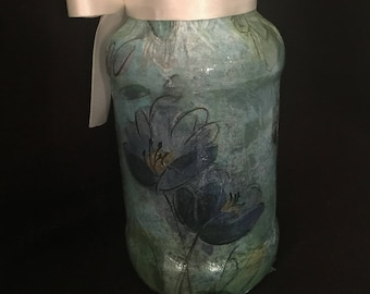 Aqua flower glass jar