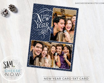 New Year Card 2017 - Snow - Photoshop template - Instant Download - photo marketing