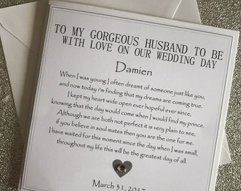Groom Wedding Day Card - Husband To Be Wedding Card - From Your Bride Card