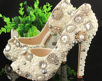 Unique Peep Toes Ivory Pearl Wedding Shoes Cute Woman High Heels Evening Party Shoes Prom Platform Shoes White Pearl Birdesmaid Shoes