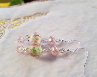 Pink lampwork bead with pink crystals drop earrings