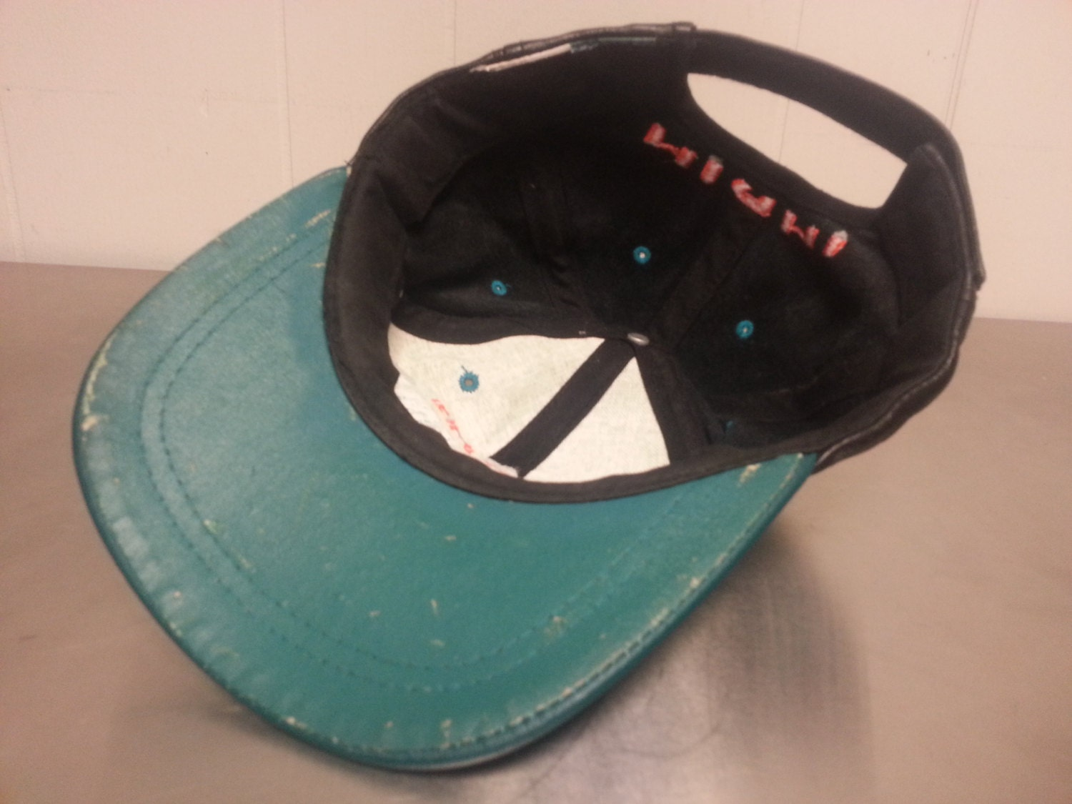 best service c2741 b6262 ... best vintage 90s leather miami dolphins velcro strapback dad hat nfl  football florida 9361b d4974