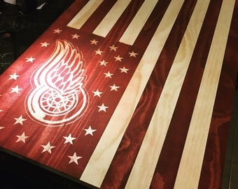 Detroit Red Wings Wooden Flag