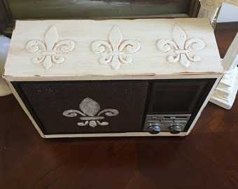 Fleur de Lis radio upcycled, French country style.