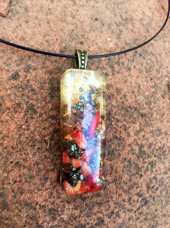 Red Coral Love Atrraction Orgonite® Pendant-  Earth Waves Energy Orgone Necklace- Manifestation Orgone- Love Spell Orgonite®