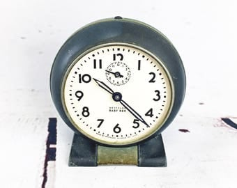Antique Vintage Westclox Baby Ben 1930's Style 5 Round Face Alarm Clock Art Deco Gunmetal Office Decor Traditional
