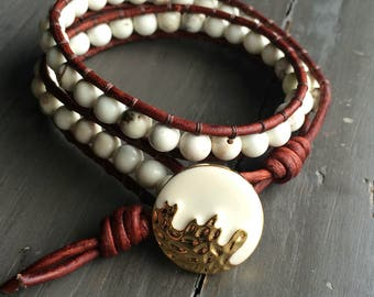 Leather double wrap bracelet with jasper and howlite beads