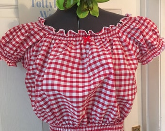 Rockabilly red Gingham sleeved qypsy top -REDUCED