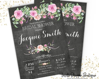 Baby-Bridal Shower Invitation Floral Chalkboard Customizable  Invitation package