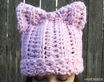 Pussy Hat, Pussycat Hat, Pussy Cat Hat, Cat Ears Hat, Women's March, Feminist Walk, Crochet Hat, Cat Lady, PussyHat, Pussycat