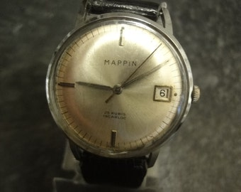 Rare Vintage MAPPIN 25 rubis incablock gents watch with black leather strap & date