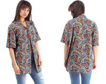Ibiza Aztec Shirt 80s Rainbow Summer Shirt Men's Unisex Vintage Southwest Multi Colour 90s Navajo Inka Unisex Oversized Cotton Hipster Large