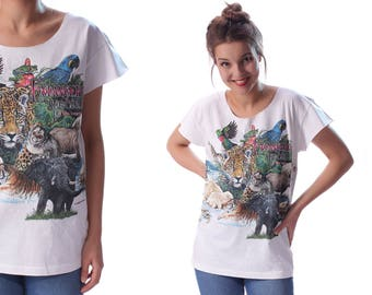 Animal T-Shirt 90s Jungle Animals Printed Cotton Tee Cut Off Top 1990s White Green Blue Shirt Large