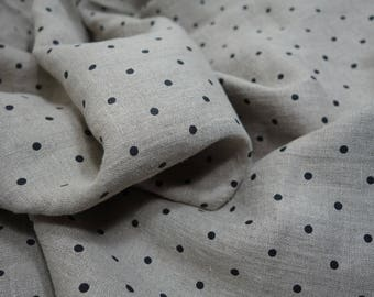 Softened linen fabric by the meter, organic flax fabric, polka dot, undyed prewashed stonewashed black dots linen fabric by the yard 190 gsm