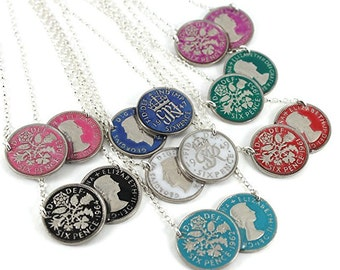Hand Painted Enamel Double Lucky Sixpence Coin 2 way wearing Necklace, Year choice from 1936 to 1970. Choice of 8 Colour