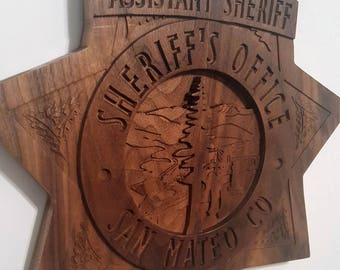 San Mateo County Sheriff's, California, Law Enforcement, Gift, Retirement, Promotion, Anniversary, Blue Line, Badge, Plaque