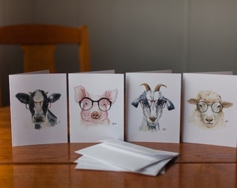 Watercolor cards- Hipster Farm Animals