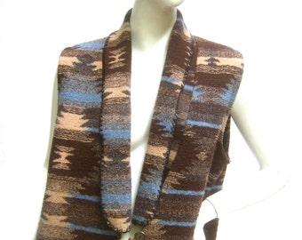 Southwestern Style Long Blanket Maxi Vest