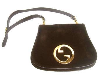 Gucci Luxurious Chocolate Suede Blondie Shoulder Bag. 1970's.