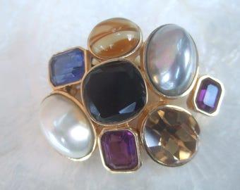 CINER Crystal & Glass Pearl Cluster Brooch