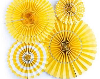 Yellow Party Fans Set Of 4, Backdrop Rosettes, Paper Fans, Paper Decors, Party Decorations, Wedding Decorations, Birthday Decoration