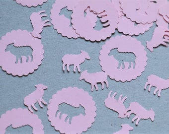 100pcs Confetti Lamb, baby shower, birthday party confetti, sheep, lamb