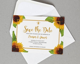 Rustic Sunflower Wedding Save the Date Personalised