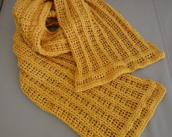 Yellow handmade crochet long muffler / shawl