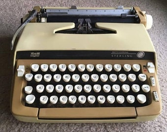 WORKING TESTED CLEANED Vintage Smith Corona Sterling Gorgeous Yellow Typewriter