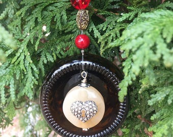 Beer Bottle Bottom Ornament/Embellished Keyhole Heart Ornament/Recycled Glass Ornament Sun Catcher