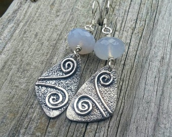 SALE 40% OFF Chalcedony Earrings * Spiral Jewelry * Boho Jewelry * Silver Jewelry * Metalsmith Jewelry * Dangle Earrings * Artisan