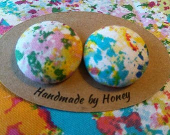 Beautiful Canvas/Fabric Button Covered Earrings/Nickel Free