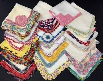 Vintage Crochet Edge Handkerchiefs Lot of 39 Hankies
