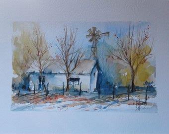 Watercolor painting landscape - farm windmill