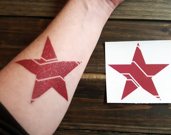 Temporary Tattoo Bucky Barnes / Winter Soldier Red Mechanized Star