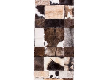 """Modern Handmade Cowhide Patchwork Hallway Runner, Brown White, 8'6""""x2'7"""""""