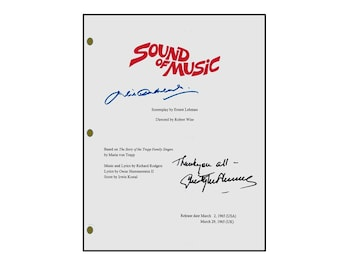 The Sound Of Music Signed Movie Script Rpt. Christopher Plummer, Julie Andrews