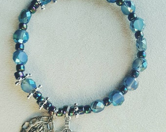 Iridescent Stormy Gray & Black Rosary Bracelet