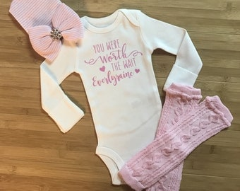 Baby Girl Coming Home Outfit Worth The Wait Personalized Onesie Leg Warmers Hospital Hat Baby Girl Take Home Outfit