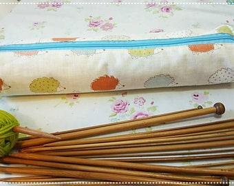 Crafty Hedgehogs Knitting Needle Case/Knitting Needle Holder/Knitting Supplies/Knitting Gifts for Her