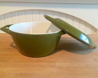 Denmark Copco Olive Enamelware Dutch Oven