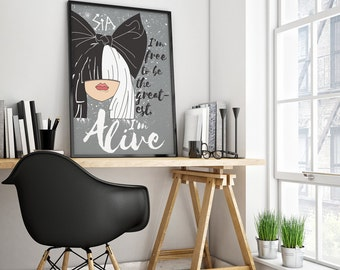 Sia The Greatest Print Poster Song Lyric Art Ilustration Printable