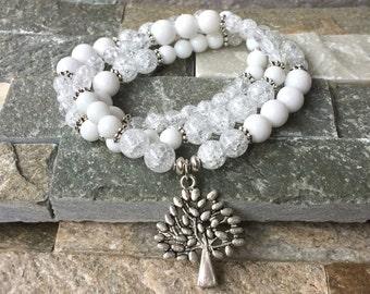 Tree of life Bracelet Crystal Jade mala bracelet tree