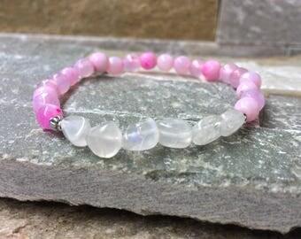 Life force mala meditation bracelet agate Moonstone