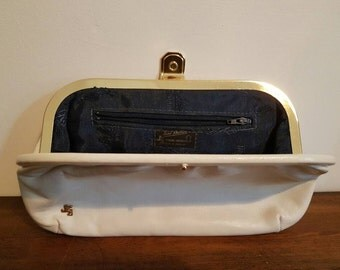 Gorgeous cream leather vintage clutch bag