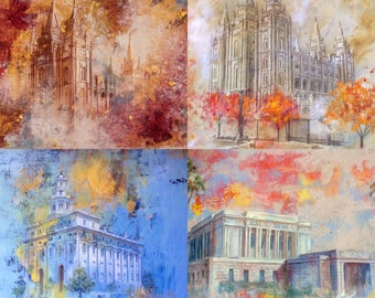 NEW! Custom Box of 10 Beautiful Art LDS Temple Greeting Cards.  Great For Weddings/MTC/Baptisms