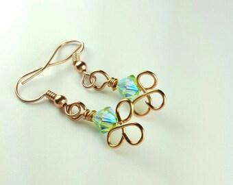 Copper Twisted Dangle Earrings