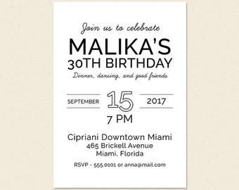Simple And Modern 30th Birthday Dinner Cocktail Party Happy Hour Printable Invitation 40th 50th 60th