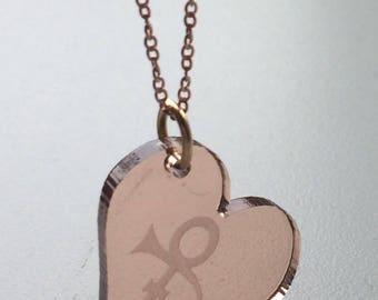 Prince heart symbol necklace